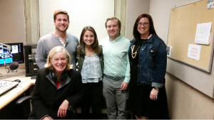 Ad and PR students and professor at the WGVU Morning Show. From left to right: Tyler Lehner, Elle Ohara, Ben Kaluski and Adrienne Wallace. Sitting down is the host Sheely Irwin